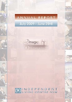 Cover of the 2009-2010 Annual Report showing a collage of ILC Web Launch